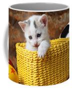 Kitten In Yellow Basket Coffee Mug by Garry Gay