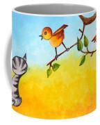 Kitten Scaring The Birds Coffee Mug