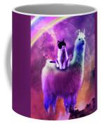 Kitty Cat Riding On Rainbow Llama In Space Coffee Mug