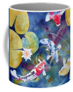 Koi And Waterlily Flower Coffee Mug
