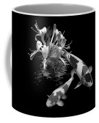 Koi With Honeysuckle Reflections In Black And White Coffee Mug