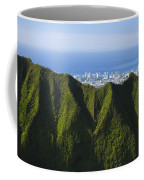Koolau Mountains And Honolulu Coffee Mug