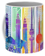 Kuwait City Landmarks Watercolor Poster Coffee Mug