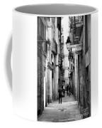 La Rambia Bw Street Gothic Quarter Narrow People  Coffee Mug