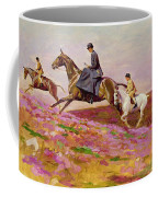 Lady Currie With Her Sons Bill And Hamish Hunting On Exmoor  Coffee Mug