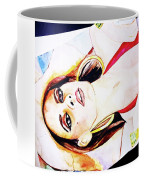 Lady In Red Framed Watercolour Painting Coffee Mug