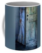 Lady In Vintage Clothing Hiding Behind Old Door Coffee Mug by Jill Battaglia