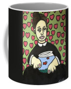 Lady With Fish Bowl Coffee Mug by Thomas Valentine