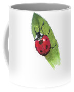 Ladybug On Leaf Coffee Mug