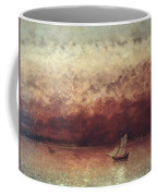 Lake Leman With Setting Sun Coffee Mug by Gustave Courbet
