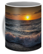 Lake Michigan Sunset With Crashing Shore Waves Coffee Mug