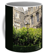 Lamppost In Front Of Green Bushes And Old Walls. Coffee Mug