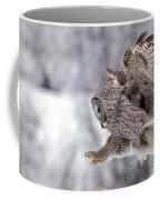 Landing Great Grey Owl Coffee Mug