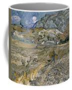 Landscape At Saint Remy Enclosed Field With Peasant Coffee Mug