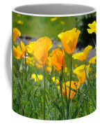 Landscape Poppy Flowers 5 Orange Poppies Hillside Meadow Art Coffee Mug