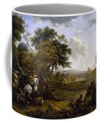 Landscape With A Hunting Party Nicolaes Claes Pietersz Berchem Coffee Mug