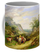 Landscape With Figures And Cattle Coffee Mug by James Leakey