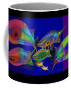 Large Blue Edo Screen  Coffee Mug