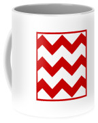 Large Chevron With Border In Red Coffee Mug