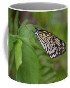Large White Tree Nymph Butterfly On Green Foliage Coffee Mug