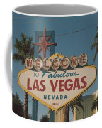 Las Vegas Welcome Sign With Vegas Strip In Background Coffee Mug