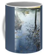 Leaves And Reeds On Tree Reflection Coffee Mug