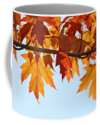 Leaves Autumn Orange Sunlit Fall Leaves Blue Sky Baslee Troutman Coffee Mug