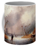 Leickert Charles A Winter Landscape With Skaters On A Frozen Waterway Coffee Mug