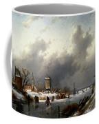 Leickert Charles Henri Joseph A Frozen Winter Landscape With Skaters Coffee Mug