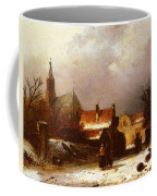 Leickert Charles Henri Joseph Figures On The Snow Coffee Mug