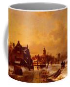 Leickert Charles Henri Joseph Winter And Summer Canal Scenes Scene  Coffee Mug