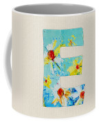 Letter E - Roman Alphabet - A Floral Expression, Typography Art Coffee Mug