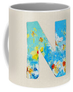 Letter N Roman Alphabet - A Floral Expression, Typography Art Coffee Mug