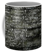 Letters And Numbers Grey On Black Coffee Mug
