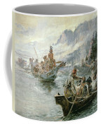 Lewis And Clark On The Lower Columbia River Coffee Mug by Charles Marion Russell