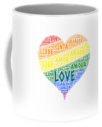 Lgbt Rainbow Hearth Flag Illustrated With Love Word Of Different Languages Coffee Mug