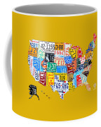 License Plate Art Map Of The United States On Yellow Board Coffee Mug by Design Turnpike