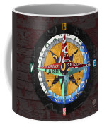 License Plate Compass North South East West Road Trip Letters On Old Red Barn Wood Coffee Mug