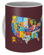 License Plate Map Of The United States Coffee Mug