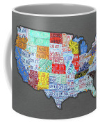 License Plate Map Of The United States Edition 2016 On Steel Background Coffee Mug