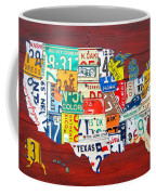 License Plate Map Of The United States - Midsize Coffee Mug