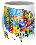 License Plate Map Of The United States Outlined Coffee Mug by Design Turnpike