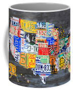 License Plate Map Of The Usa On Gray Distressed Wood Boards Coffee Mug