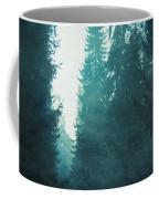 Light Coming Through Fir Trees In Mist Coffee Mug