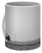 Lighthouse And Pier Grand Haven Michigan In Black And White Coffee Mug