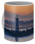 Lighthouse And Wharf At Dusk Coffee Mug