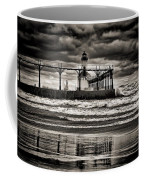 Lighthouse Reflections In Black And White Coffee Mug