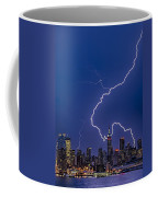 Lightning Bolts Over New York City Coffee Mug