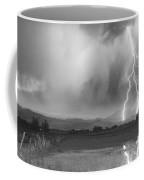 Lightning Bolts Striking Longs Peak Foothills 6bw  Coffee Mug