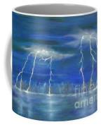 Lightning By The Lake Original Oil Painting Coffee Mug